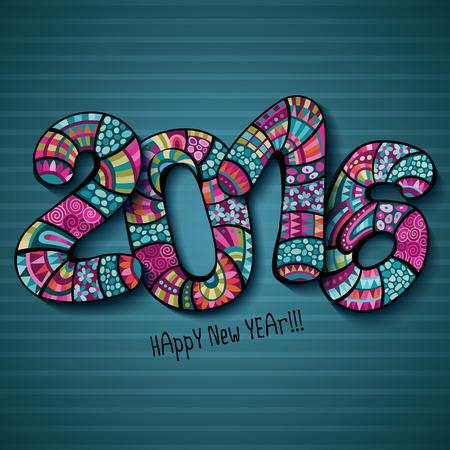 С Новым Годом 2016 Декоративные старинные декоративные рисованной надпись Иллюстрация