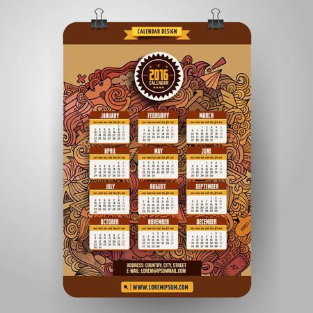 calendario escolar: Garabatos de dibujos animados de la escuela de diseño Calendario 2016 años, inicio Inglés, Domingo.