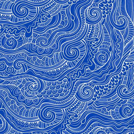 batik: Vintage abstract doodles decorative ornamental blue contour background Illustration