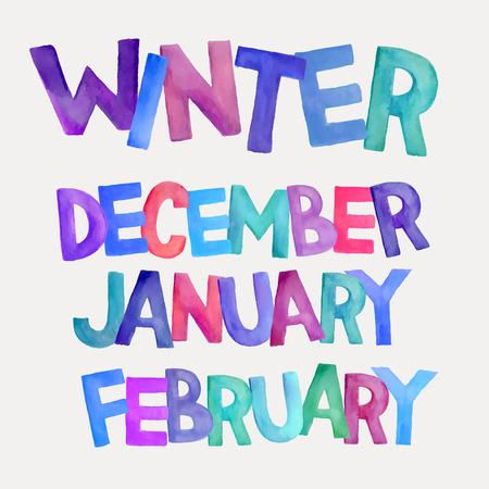january: Winter season hand drawn colorful watercolor names