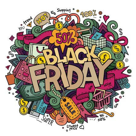 fashion art: Black Friday sale hand lettering and doodles elements and symbols background. hand drawn illustration