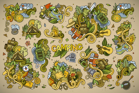 picnic park: Camping doodles nature hand drawn symbols and objects