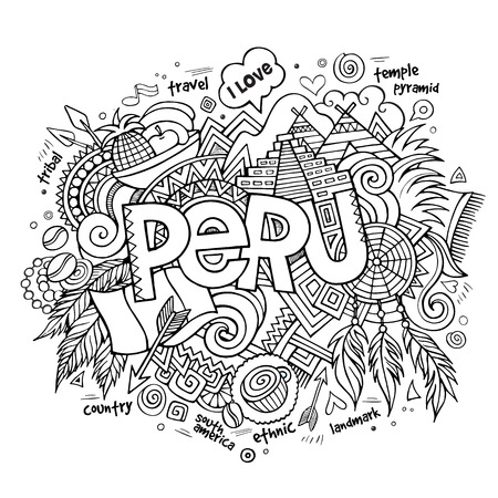 picchu: Peru hand lettering and doodles elements background