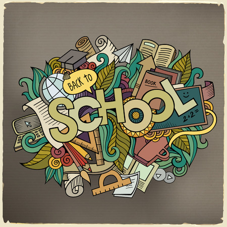 school class: School hand lettering and doodles elements and symbols background Illustration