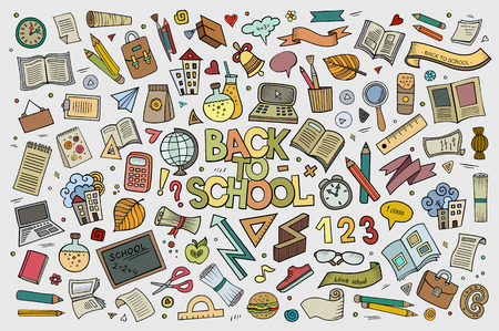 School and education doodles hand drawn symbols and objects