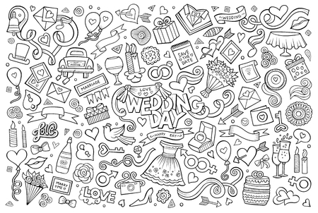 Wedding and love doodles hand drawn sketchy symbols