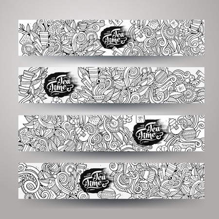 tazza di te: abbozzato Doodles progettazione tè Modelli di banner disegnati a mano set