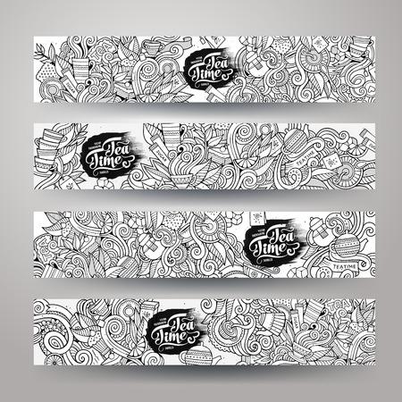 taza de t�: Doodles incompletos del dise�o del t� plantillas de banner dibujado mano conjunto
