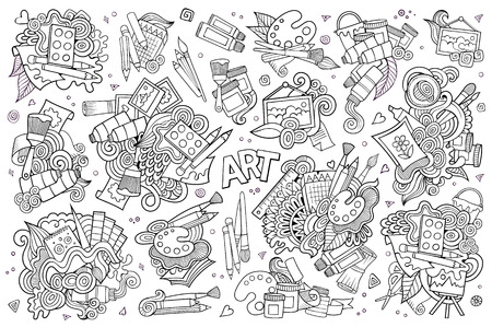 hand craft: Art and paint materials doodles hand drawn sketchy symbols and objects