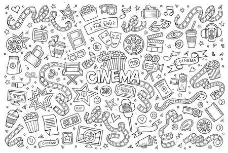 video reel: Cinema, movie, film doodles hand drawn sketchy symbols and objects