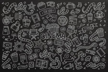 pelicula de cine: Cine, cine, cine garabatos dibujados a mano símbolos y objetos pizarra
