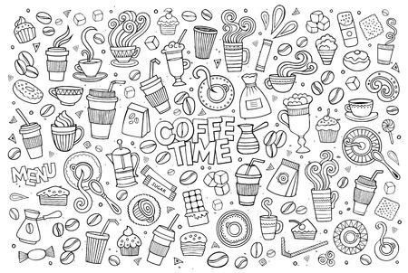elemento: Simboli e oggetti abbozzati Caffè scarabocchi tempo disegnati a mano Vettoriali