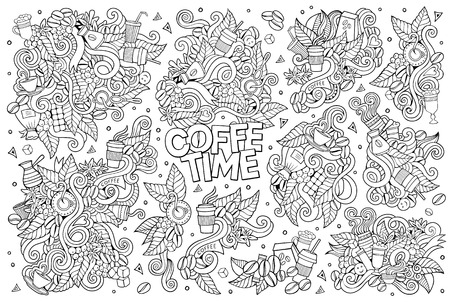 turkish dessert: Coffee time doodles hand drawn sketchy symbols and objects