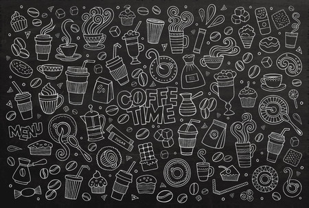 Кофе время каракули рисованной доске символы и объекты