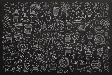 planta de cafe: Café garabatos tiempo dibujado a mano símbolos y objetos pizarra