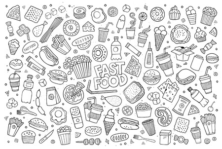 cartoon egg: Fast food doodles hand drawn sketchy symbols and objects