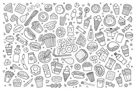 huevo caricatura: Garabatos Comida r�pida dibujado a mano s�mbolos y objetos incompletos