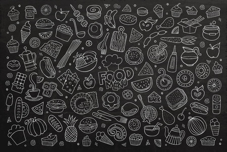 Foods doodles hand drawn chalkboard symbols and objects