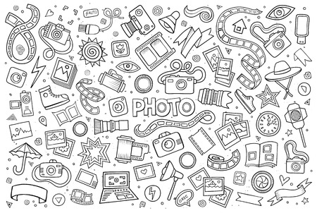 Photo doodles hand drawn sketchy symbols and objects
