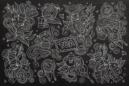 ceylon: Tea time doodles hand drawn chalkboard symbols and objects