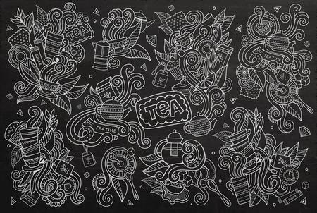 tea plantations: Tea time doodles hand drawn chalkboard symbols and objects