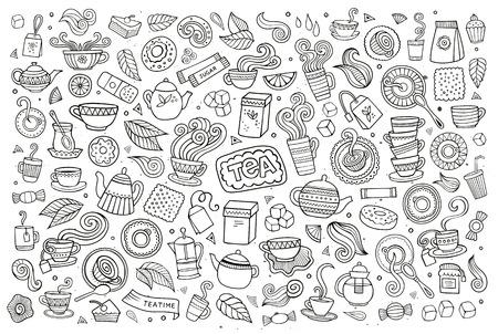 cocina caricatura: Té garabatos tiempo de mano dibujado símbolos y objetos incompletos Vectores