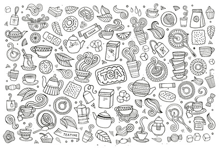 Tea time doodles hand drawn sketchy symbols and objects Vector Illustration