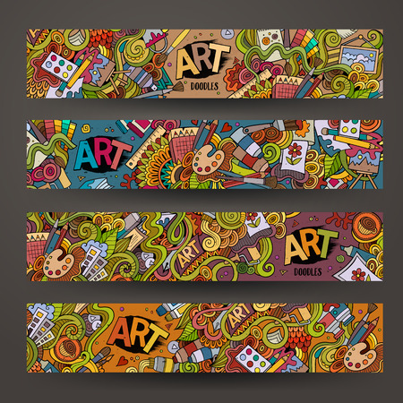 pencil and paper: Cartoon hand-drawn Doodle on the subject of art and craft. Horizontal banners design templates set