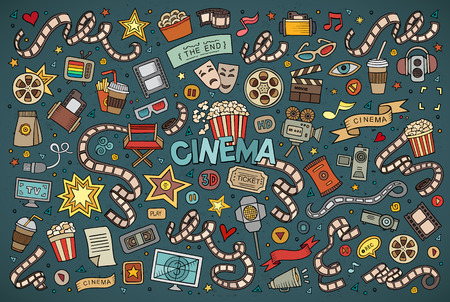 Colorful hand drawn Doodle cartoon set of objects and symbols on the cinema theme Vectores