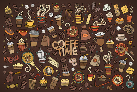 Colorful hand drawn Doodle cartoon set of objects and symbols on the coffee time theme Ilustração