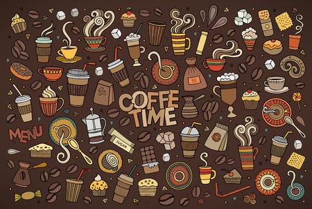 Ensemble élaboré de bande dessinée Doodle main coloré des objets et des symboles sur le thème de l'heure du café