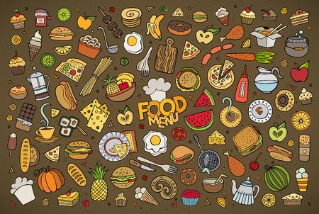 étel: Színes kézzel rajzolt Doodle rajzfilm sor tárgyak és szimbólumok az élelmiszer téma