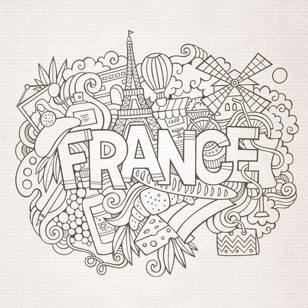 european culture: France country hand lettering and doodles elements and symbols background