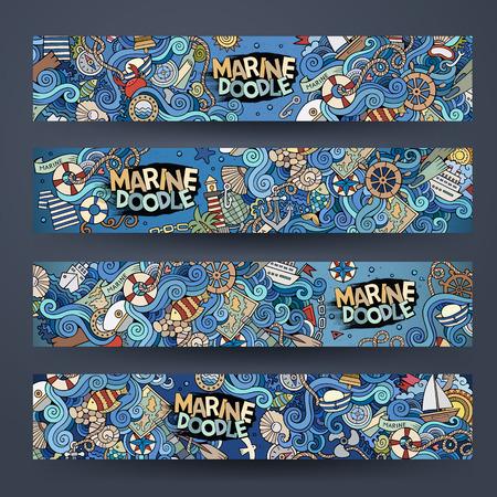 Cartoon hand-drawn Doodle on the subject of nautical marine. Horizontal banners design templates set Çizim