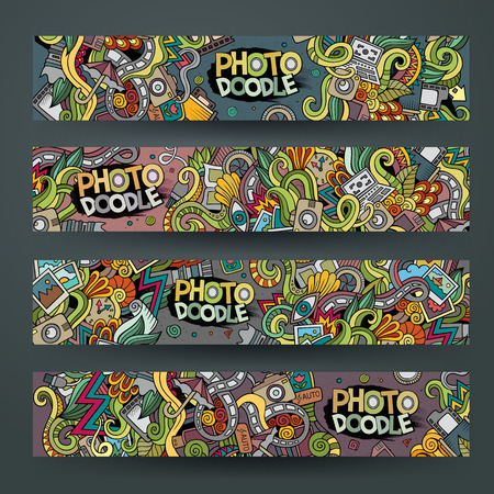 paparazzi: Cartoon hand-drawn Doodle on the subject of photo. Horizontal banners design templates set Illustration