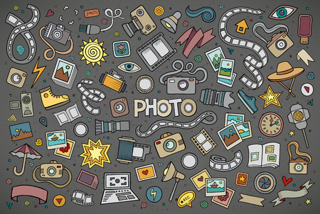 digital photo camera: Colorful hand drawn Doodle cartoon set of objects and symbols on the photo theme