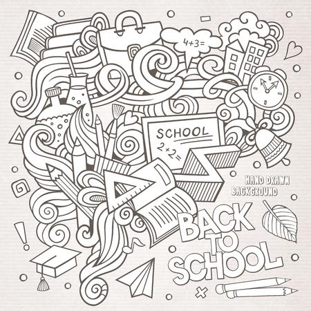 soumis: Cartoon trac� manuel Doodle sur le sujet de l'�ducation. Sketchy fond de conception avec des objets et des symboles scolaires.