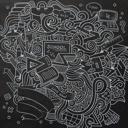 design objects: Cartoon hand-drawn Doodle on the subject of education. Chalkboard design background with school objects and symbols.
