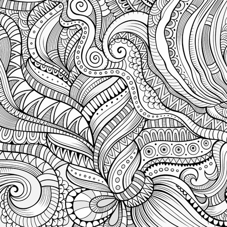 abstract nature: Decorative hand drawn nature ornamental ethnic background