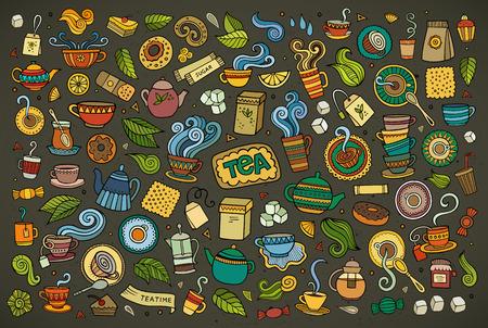 Kleurrijke hand getrokken Doodle cartoon set van objecten en symbolen op de thee tijd thema Stock Illustratie