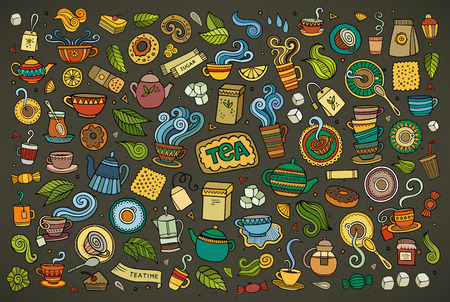 Colorful hand drawn Doodle cartoon set of objects and symbols on the tea time theme