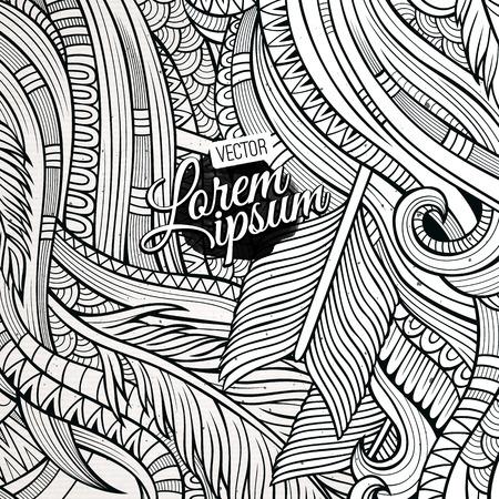 hand drawn: Decorative hand drawn ornamental ethnic background Illustration