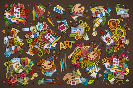 pencil and paper: Art and paint materials doodles hand drawn colorful symbols and objects
