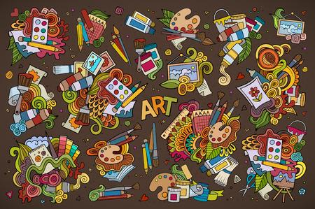 lapiz y papel: Materiales art�sticos y garabatos de pintura de mano dibujado s�mbolos y objetos de colores Vectores