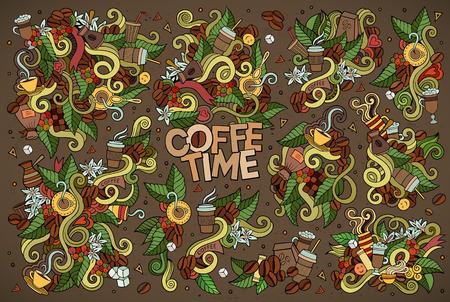 Koffietijd doodles hand getekende schetsmatig symbolen en objecten Stock Illustratie