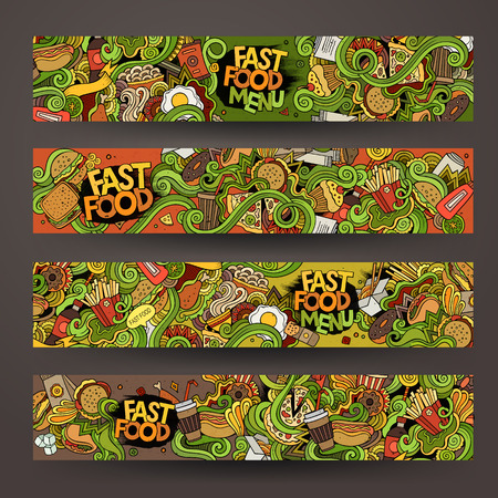 de hand getekende doodles fast food banners ontwerp sjablonen set
