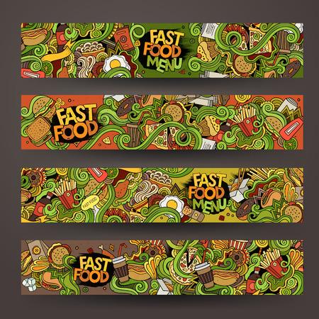 comida rapida: garabatos dibujados a mano de comida rápida plantillas de diseño Banderas CONJUNTO