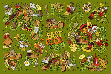 alimentos y bebidas: Garabatos Comida rápida dibujado a mano símbolos y objetos de colores