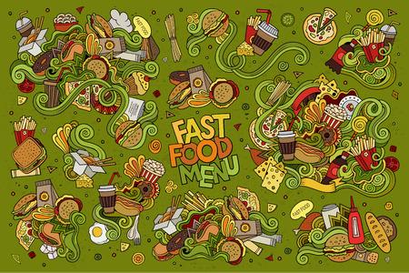 aliments droles: Rapide griffonnages alimentaires tiré par la main des symboles et des objets colorés Illustration
