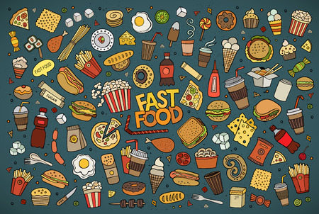 étel: Színes kézzel rajzolt Doodle rajzfilm sor tárgyak és szimbólumok a gyorsétterem téma